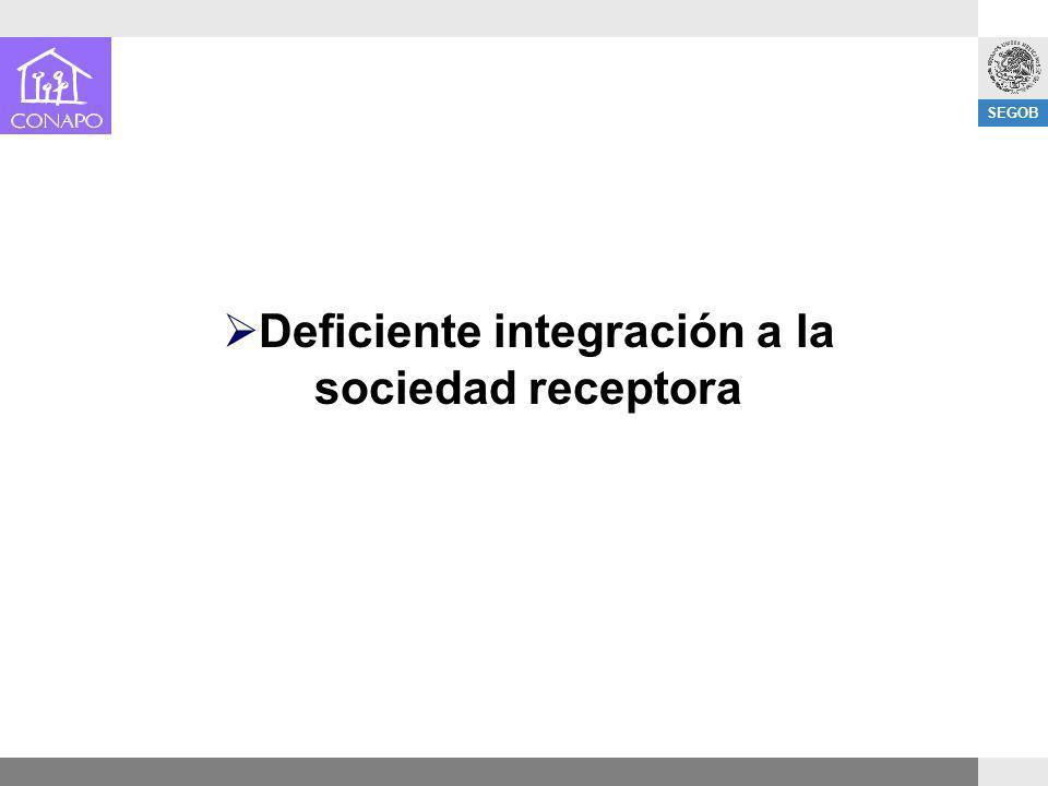 SEGOB Deficiente integración a la sociedad receptora