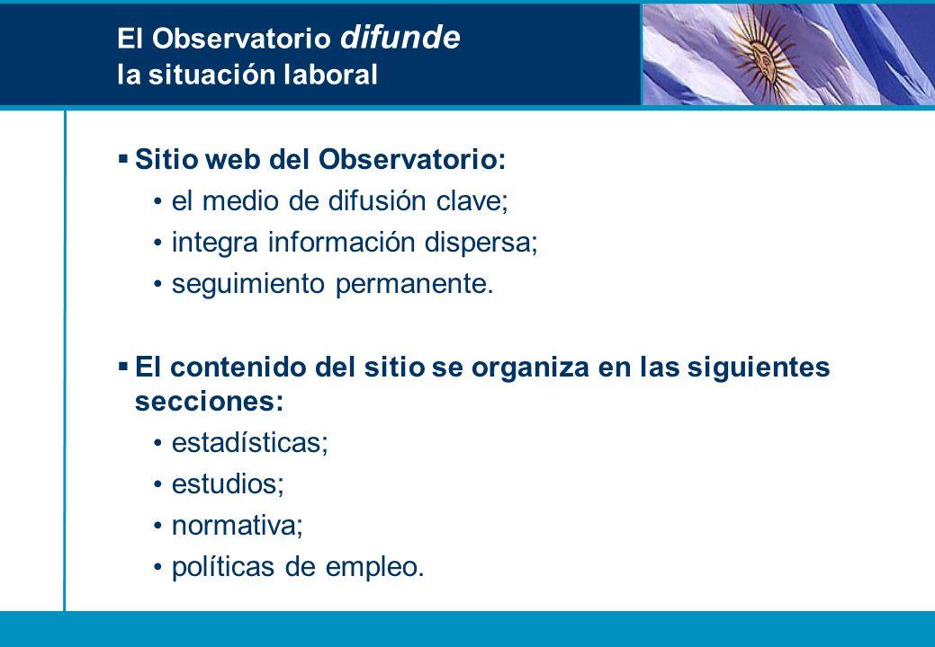 El Observatorio difunde la situación laboral Sitio web del Observatorio: el medio de difusión clave; integra información dispersa; seguimiento permane