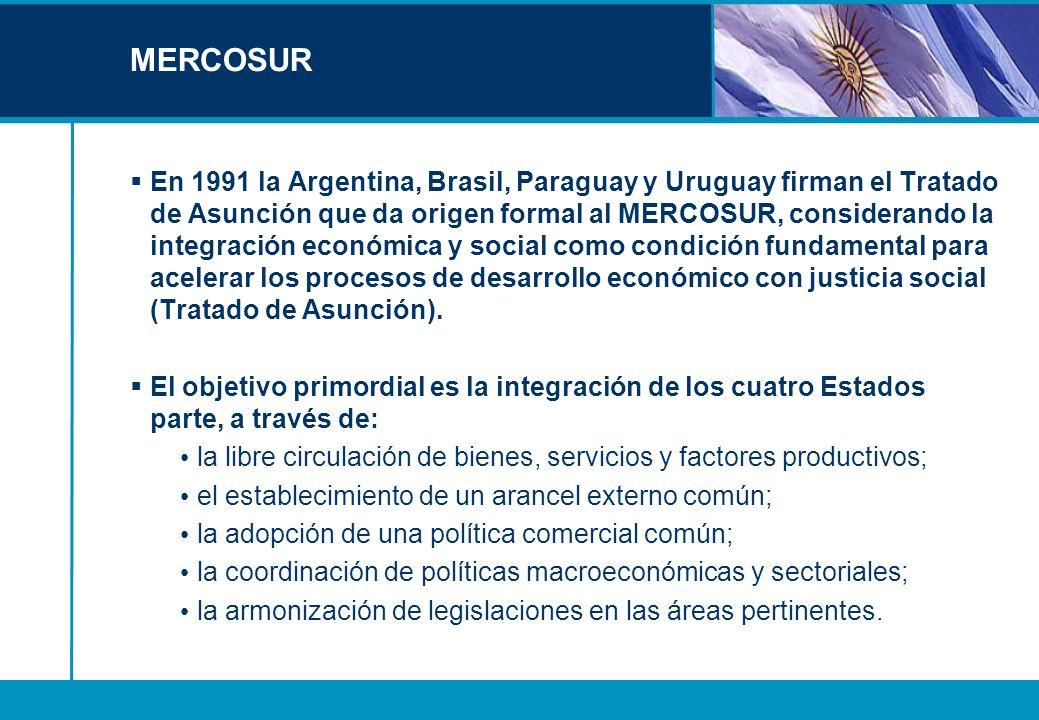 MERCOSUR En 1991 la Argentina, Brasil, Paraguay y Uruguay firman el Tratado de Asunción que da origen formal al MERCOSUR, considerando la integración