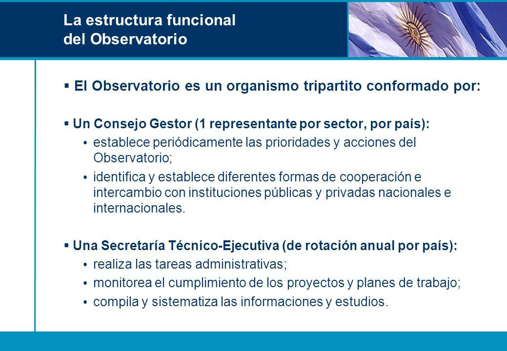 La estructura funcional del Observatorio El Observatorio es un organismo tripartito conformado por: Un Consejo Gestor (1 representante por sector, por
