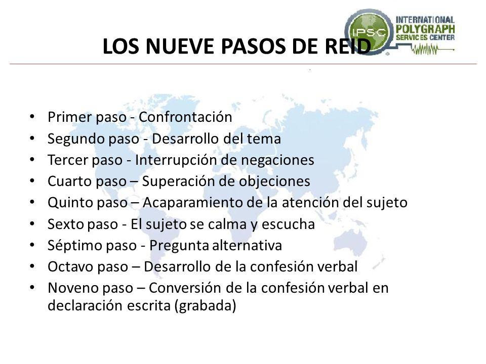 LOS NUEVE PASOS DE REID Primer paso - Confrontación Segundo paso - Desarrollo del tema Tercer paso - Interrupción de negaciones Cuarto paso – Superaci