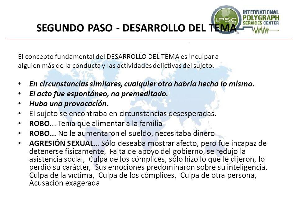SEGUNDO PASO - DESARROLLO DEL TEMA El concepto fundamental del DESARROLLO DEL TEMA es inculpar a alguien más de la conducta y las actividades delictiv
