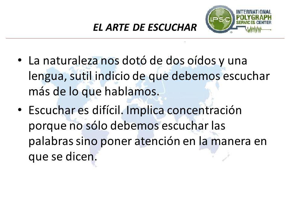 EL ARTE DE ESCUCHAR La naturaleza nos dotó de dos oídos y una lengua, sutil indicio de que debemos escuchar más de lo que hablamos. Escuchar es difíci