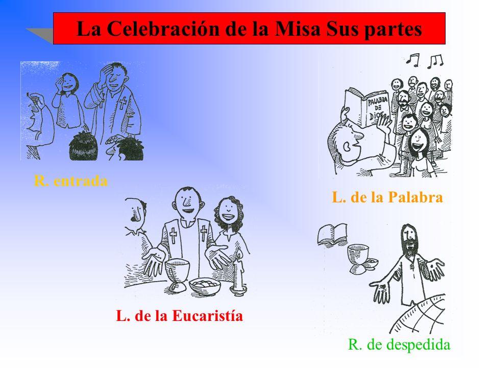 La Celebración de la Misa Sus partes R. entrada L. de la Palabra L. de la Eucaristía R. de despedida