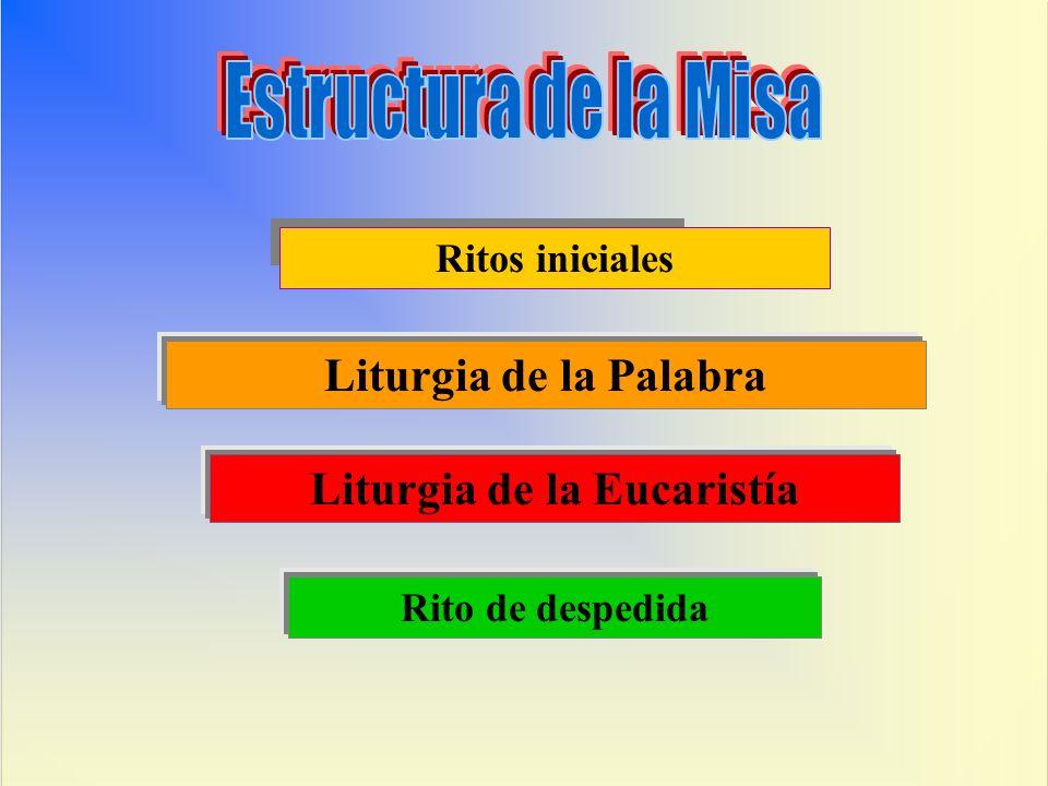 Ritos iniciales Liturgia de la Palabra Liturgia de la Eucaristía Rito de despedida