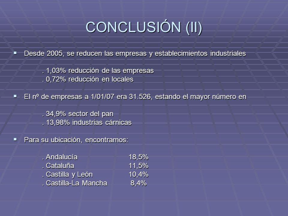 CONCLUSIÓN (II) Desde 2005, se reducen las empresas y establecimientos industriales Desde 2005, se reducen las empresas y establecimientos industriale