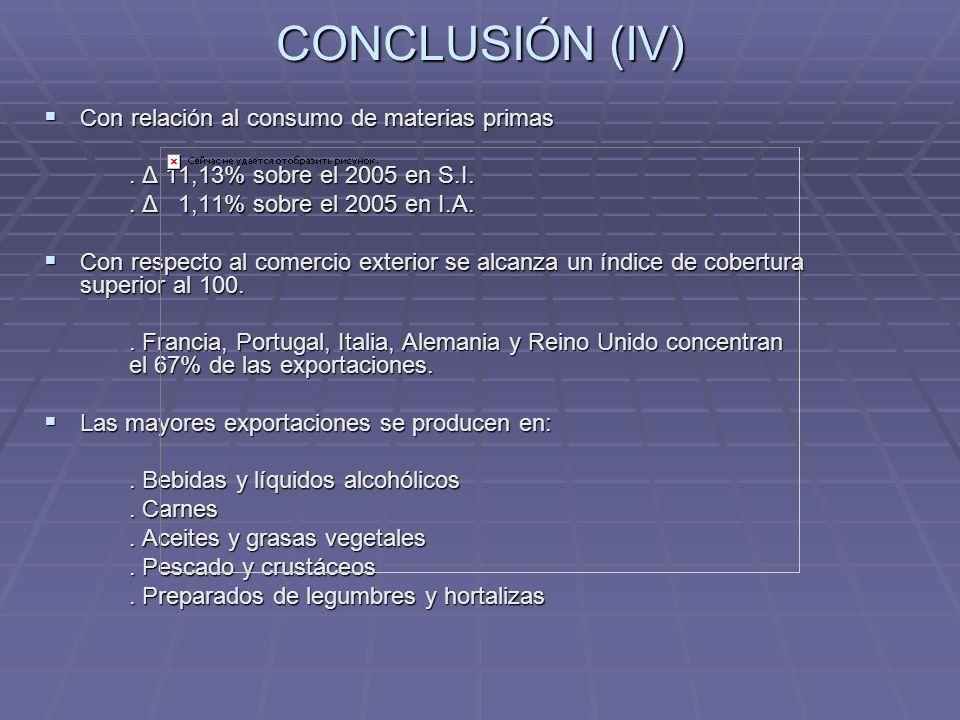 CONCLUSIÓN (IV) Con relación al consumo de materias primas Con relación al consumo de materias primas. Δ 11,13% sobre el 2005 en S.I.. Δ 1,11% sobre e
