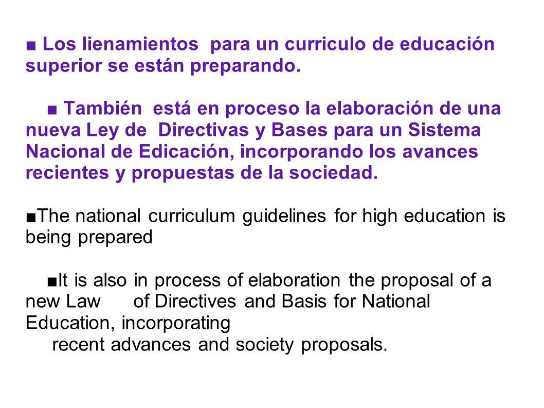 Los lienamientos para un curriculo de educación superior se están preparando. También está en proceso la elaboración de una nueva Ley de Directivas y