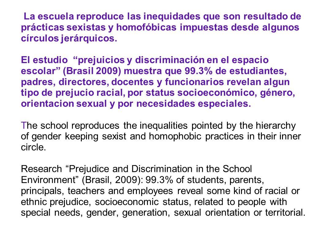 La escuela reproduce las inequidades que son resultado de prácticas sexistas y homofóbicas impuestas desde algunos círculos jerárquicos. El estudio pr