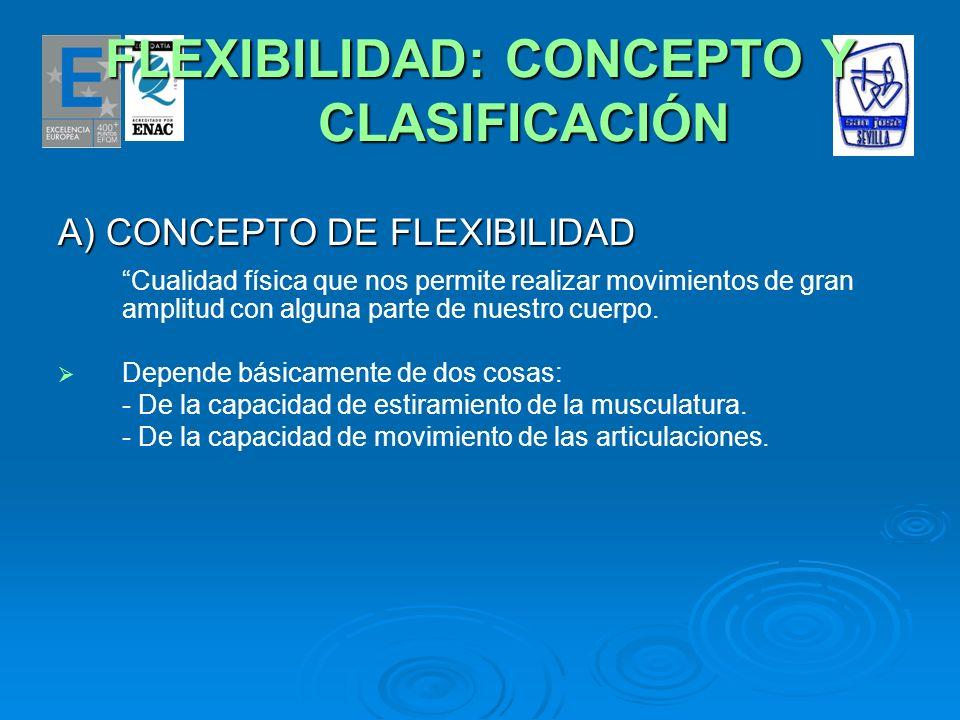 FLEXIBILIDAD: CONCEPTO Y CLASIFICACIÓN A) CONCEPTO DE FLEXIBILIDAD Cualidad física que nos permite realizar movimientos de gran amplitud con alguna pa