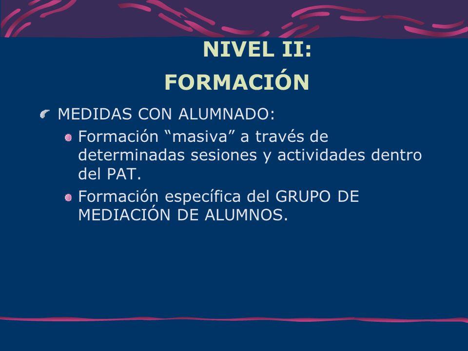 NIVEL II: FORMACIÓN MEDIDAS CON ALUMNADO: Formación masiva a través de determinadas sesiones y actividades dentro del PAT. Formación específica del GR