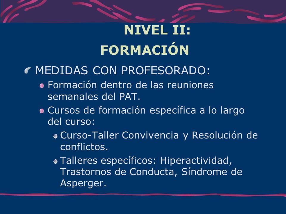 NIVEL II: FORMACIÓN MEDIDAS CON PROFESORADO: Formación dentro de las reuniones semanales del PAT. Cursos de formación específica a lo largo del curso: