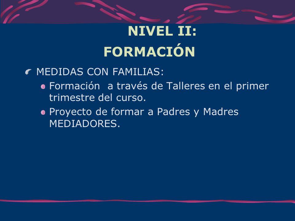NIVEL II: FORMACIÓN MEDIDAS CON FAMILIAS: Formación a través de Talleres en el primer trimestre del curso. Proyecto de formar a Padres y Madres MEDIAD