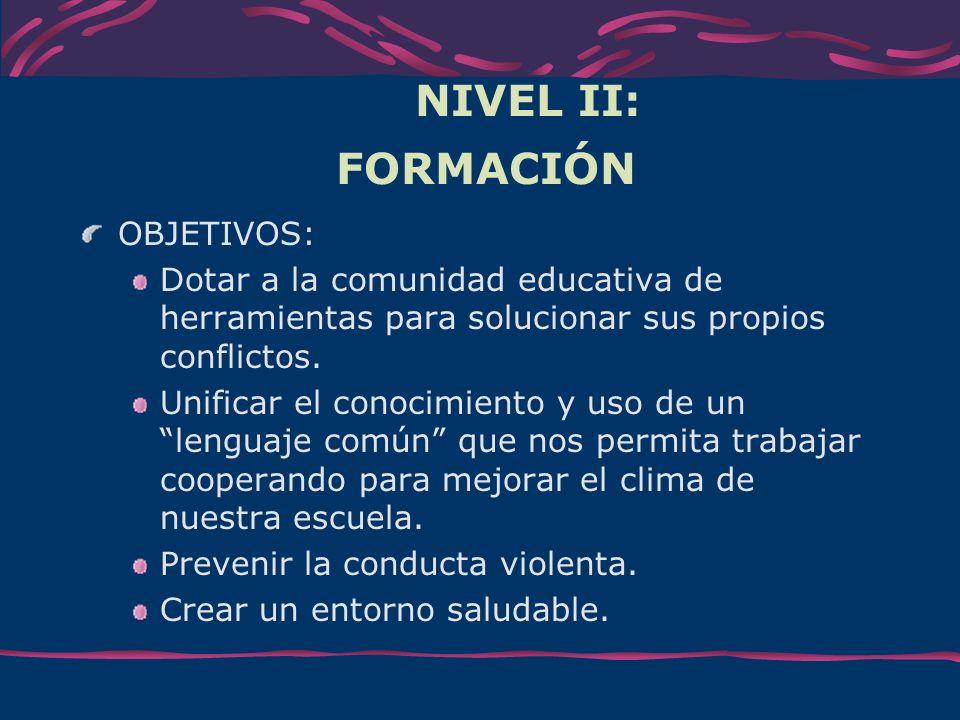 NIVEL II: FORMACIÓN OBJETIVOS: Dotar a la comunidad educativa de herramientas para solucionar sus propios conflictos. Unificar el conocimiento y uso d