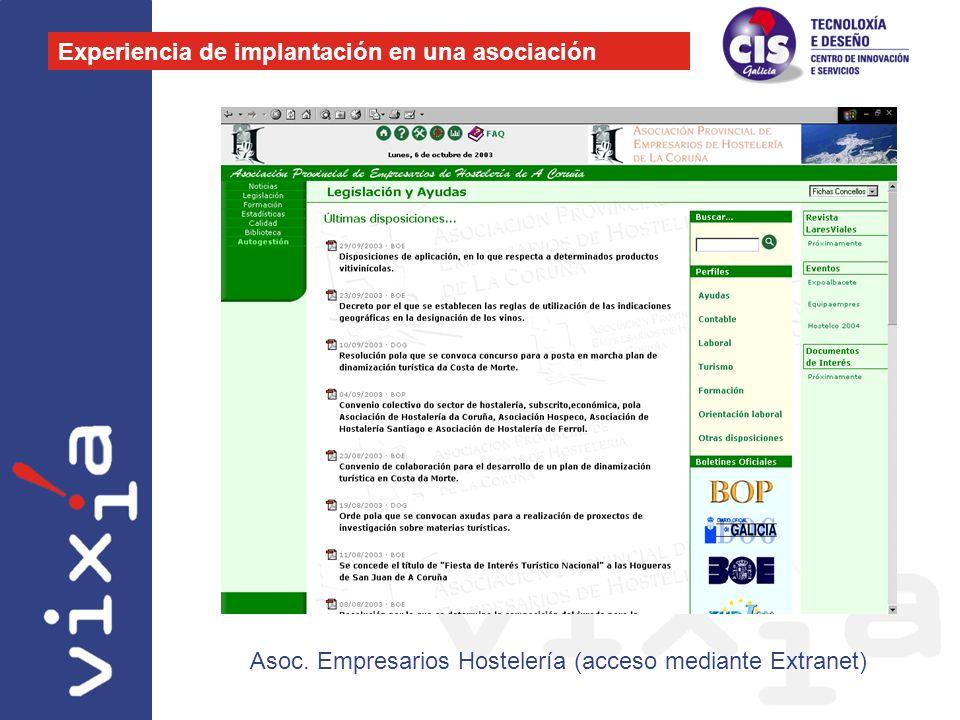 Experiencia de implantación en una asociación Asoc. Empresarios Hostelería (acceso mediante Extranet)