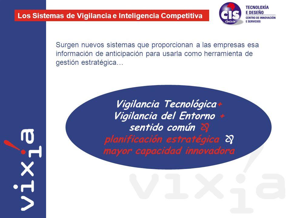 Vigilancia + Gestión de la información interna + análisis y valor de la información = Inteligencia Competitiva Gestión del Conocimiento INTELIGENCIA COMPETITIVA VIGILANCIATECNOLÓGICA GESTIÓN INFORMACIÓN INTERNA VIGILANCIA DEL ENTORNO Gestión del Conocimiento Gestión del Conocimiento Gestión del Conocimiento Los Sistemas de Vigilancia e Inteligencia Competitiva