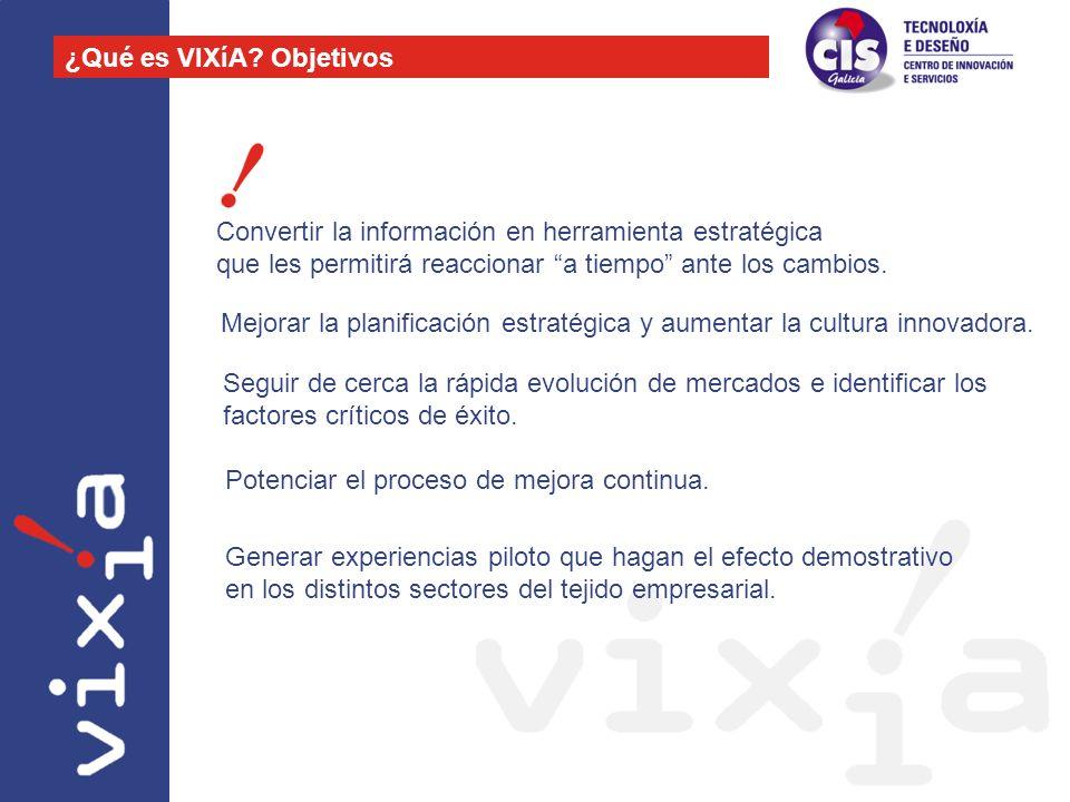 Convertir la información en herramienta estratégica que les permitirá reaccionar a tiempo ante los cambios. ¿Qué es VIXíA? Objetivos Mejorar la planif