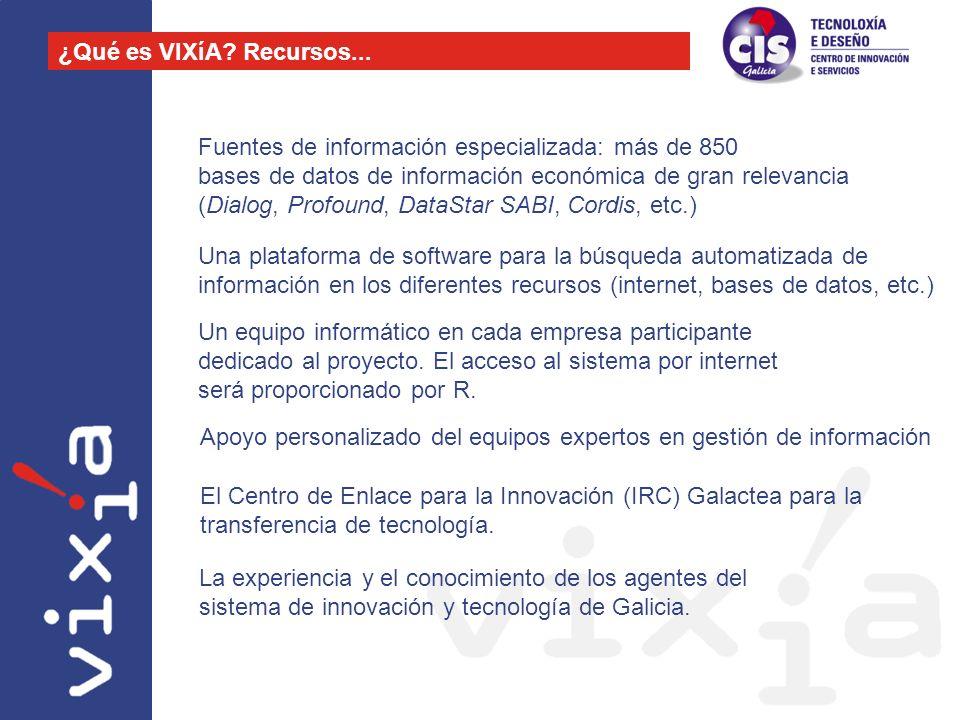 Fuentes de información especializada: más de 850 bases de datos de información económica de gran relevancia (Dialog, Profound, DataStar SABI, Cordis,
