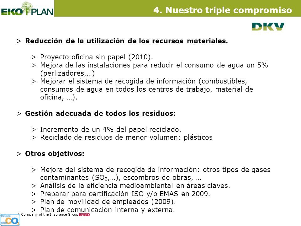 13 A Company of the Insurance Group >Reducción de la utilización de los recursos materiales.