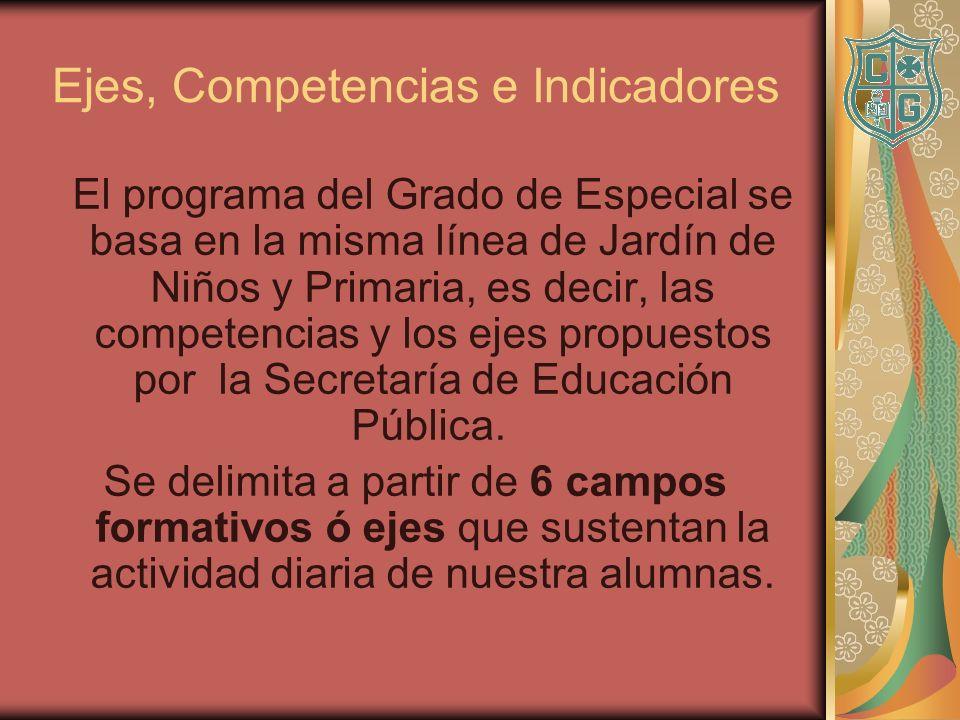 Ejes, Competencias e Indicadores El programa del Grado de Especial se basa en la misma línea de Jardín de Niños y Primaria, es decir, las competencias