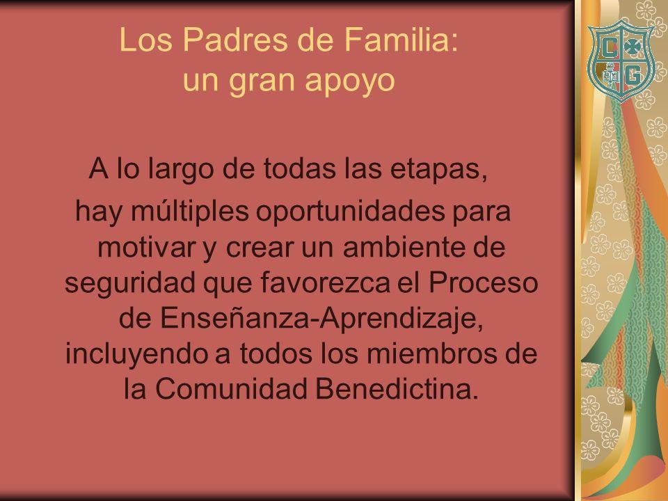 Los Padres de Familia: un gran apoyo A lo largo de todas las etapas, hay múltiples oportunidades para motivar y crear un ambiente de seguridad que fav