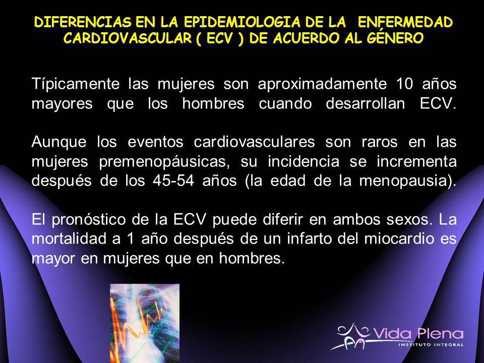 Típicamente las mujeres son aproximadamente 10 años mayores que los hombres cuando desarrollan ECV. Aunque los eventos cardiovasculares son raros en l