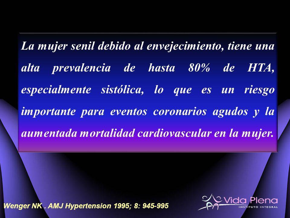 La mujer senil debido al envejecimiento, tiene una alta prevalencia de hasta 80% de HTA, especialmente sistólica, lo que es un riesgo importante para