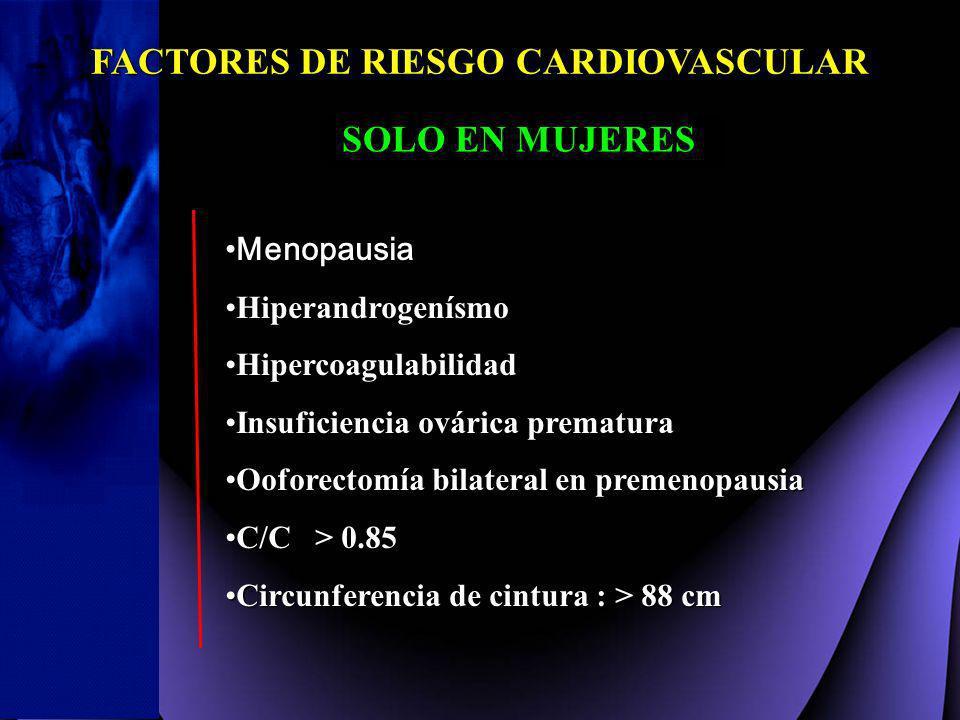 FACTORES DE RIESGO CARDIOVASCULAR SOLO EN MUJERES MenopausiaMenopausia HiperandrogenísmoHiperandrogenísmo HipercoagulabilidadHipercoagulabilidad Insuf