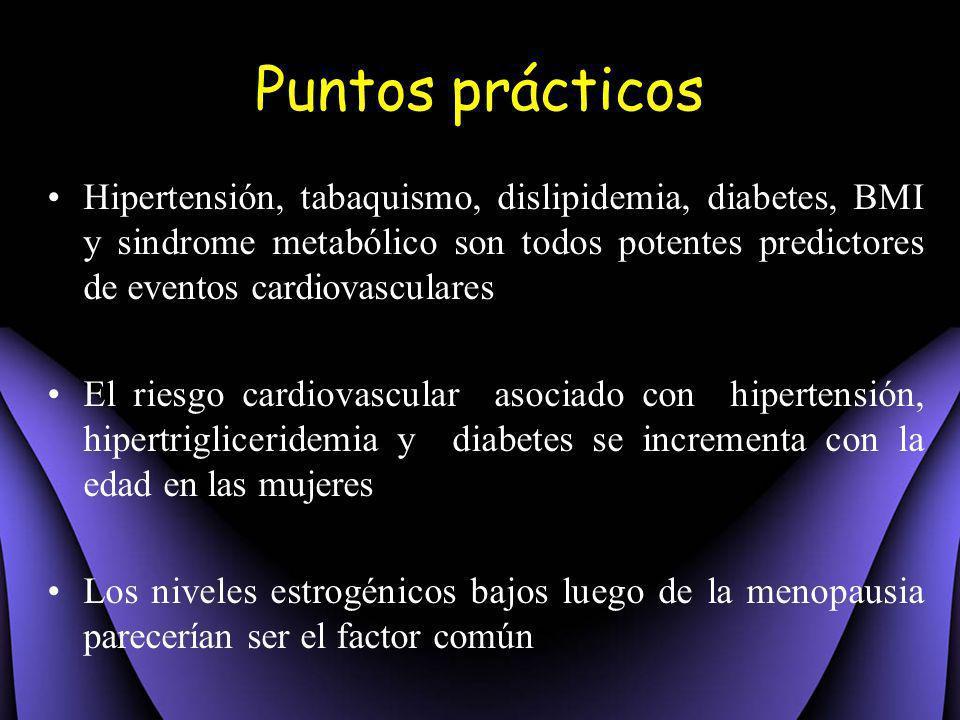 Hipertensión, tabaquismo, dislipidemia, diabetes, BMI y sindrome metabólico son todos potentes predictores de eventos cardiovasculares El riesgo cardi