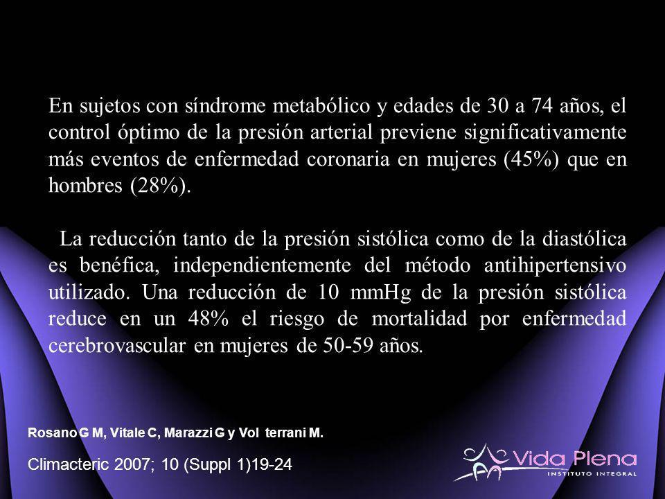 En sujetos con síndrome metabólico y edades de 30 a 74 años, el control óptimo de la presión arterial previene significativamente más eventos de enfer