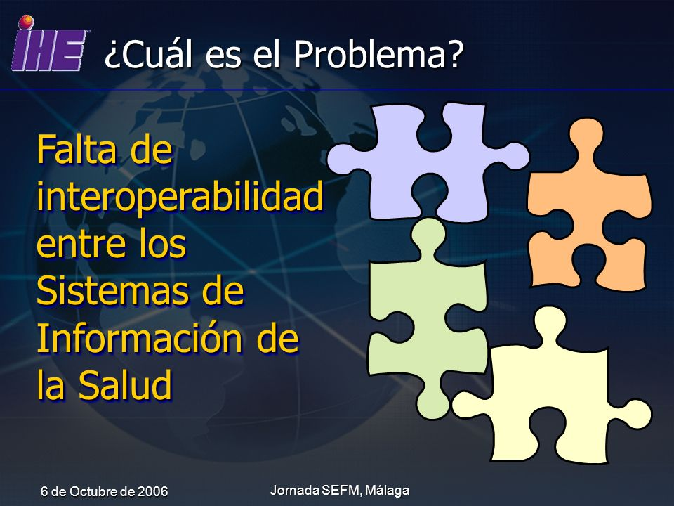 6 de Octubre de 2006 Jornada SEFM, Málaga ¿Cuál es el Problema? Falta de interoperabilidad entre los Sistemas de Información de la Salud
