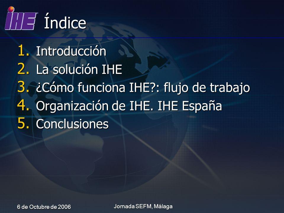 6 de Octubre de 2006 Jornada SEFM, Málaga Dominios IHE IHE Radiología IHE Dominio futuro Integración inter-hospitalaria 13 Perfiles de Integración IHE Laboratorio 4 Perfiles de Integración IHE Cardiología 5 Perfiles de Integración 9 Perfiles de Integración IHE ITI IHE PCC Integración intra-hospitalaria 5 Perfiles de Integración