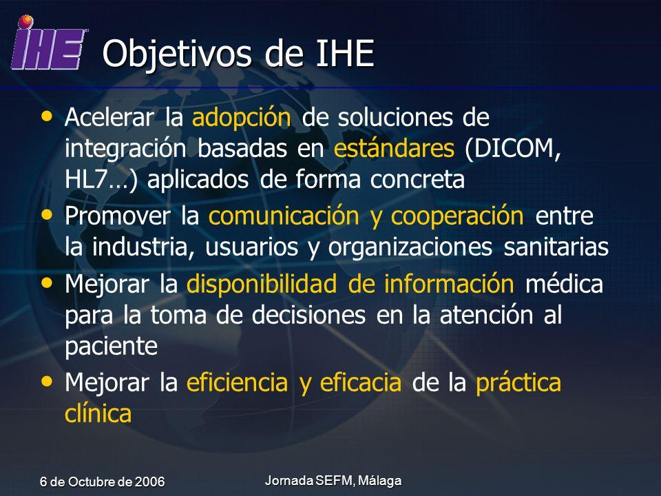 6 de Octubre de 2006 Jornada SEFM, Málaga Objetivos de IHE Acelerar la adopción de soluciones de integración basadas en estándares (DICOM, HL7…) aplic