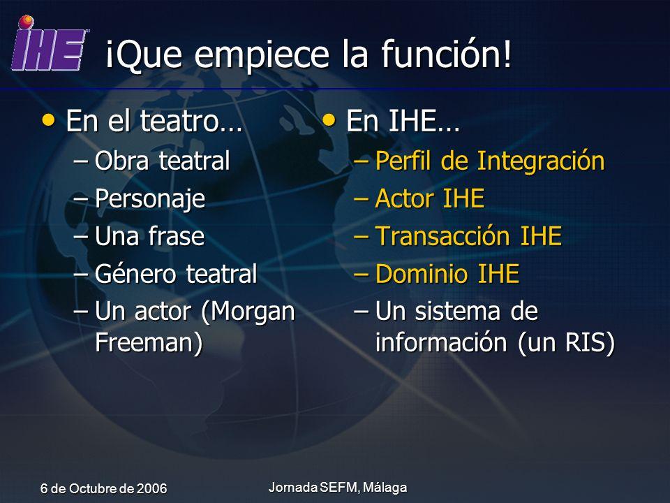 6 de Octubre de 2006 Jornada SEFM, Málaga ¡Que empiece la función! En el teatro… En el teatro… –Obra teatral –Personaje –Una frase –Género teatral –Un