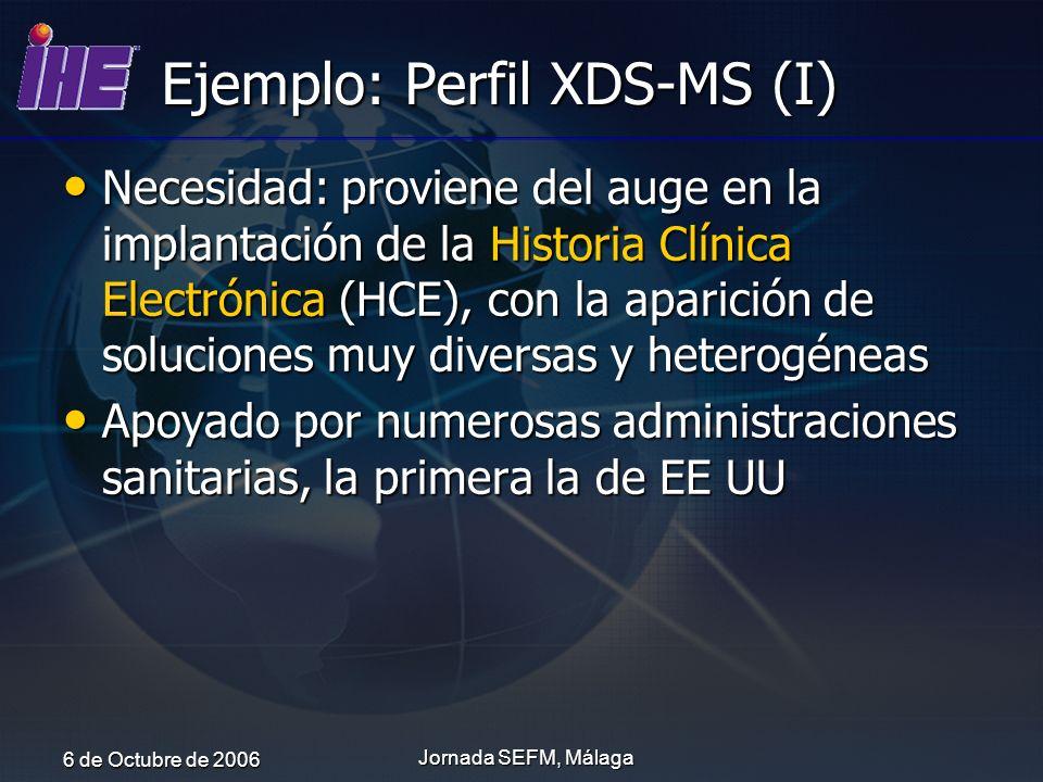 6 de Octubre de 2006 Jornada SEFM, Málaga Ejemplo: Perfil XDS-MS (I) Necesidad: proviene del auge en la implantación de la Historia Clínica Electrónic