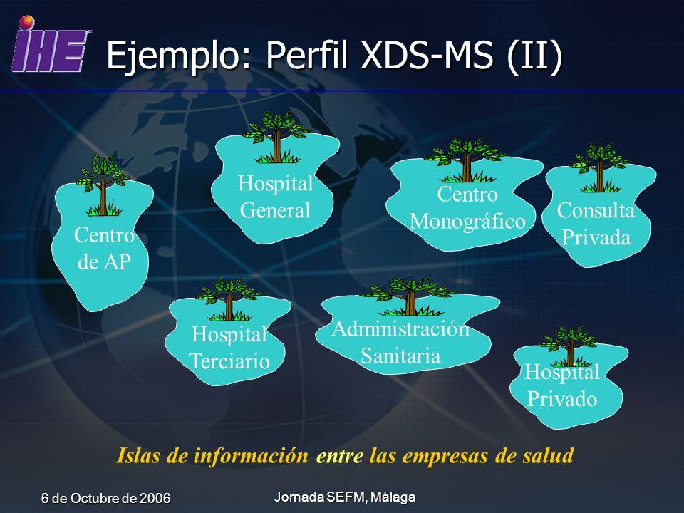 6 de Octubre de 2006 Jornada SEFM, Málaga Ejemplo: Perfil XDS-MS (II) Centro de AP Hospital General Administración Sanitaria Hospital Terciario Consul