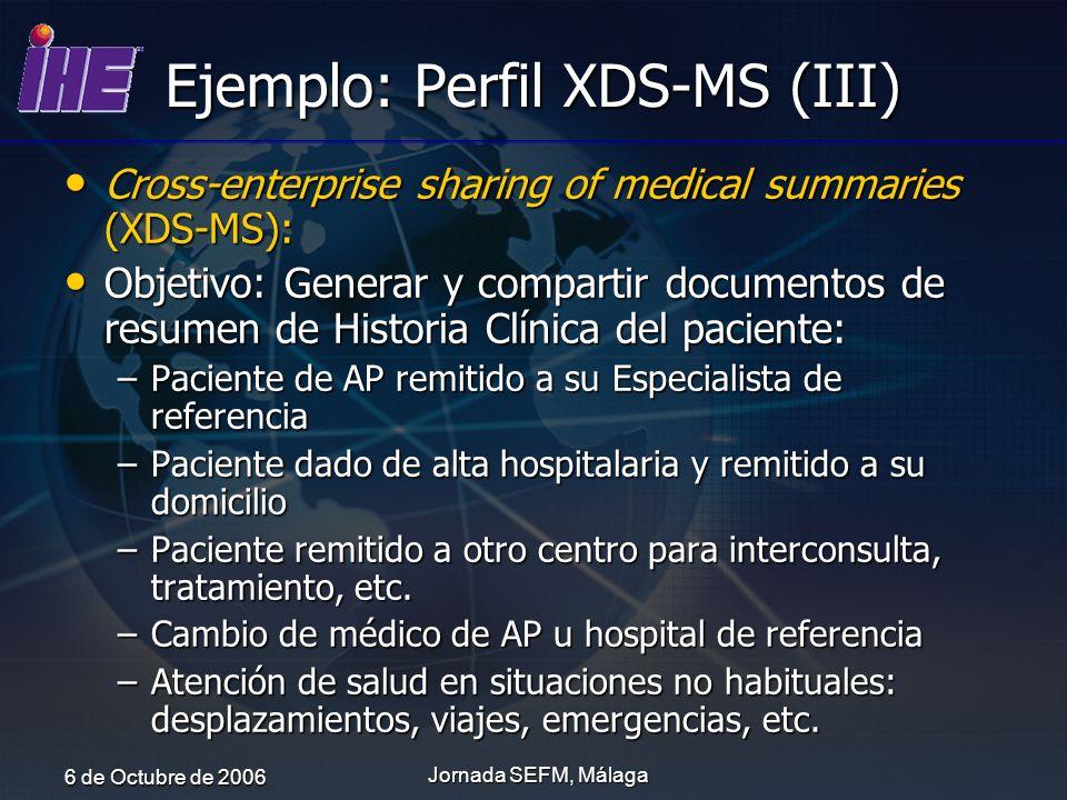 6 de Octubre de 2006 Jornada SEFM, Málaga Ejemplo: Perfil XDS-MS (III) Cross-enterprise sharing of medical summaries (XDS-MS): Cross-enterprise sharin