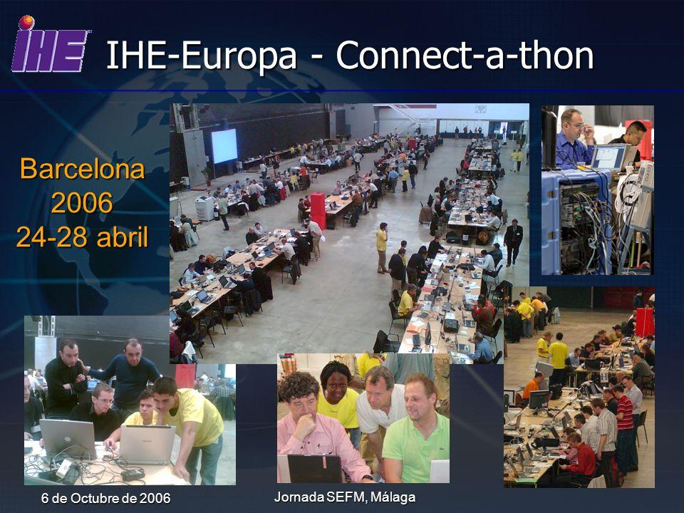 6 de Octubre de 2006 Jornada SEFM, Málaga IHE-Europa - Connect-a-thon Barcelona2006 24-28 abril