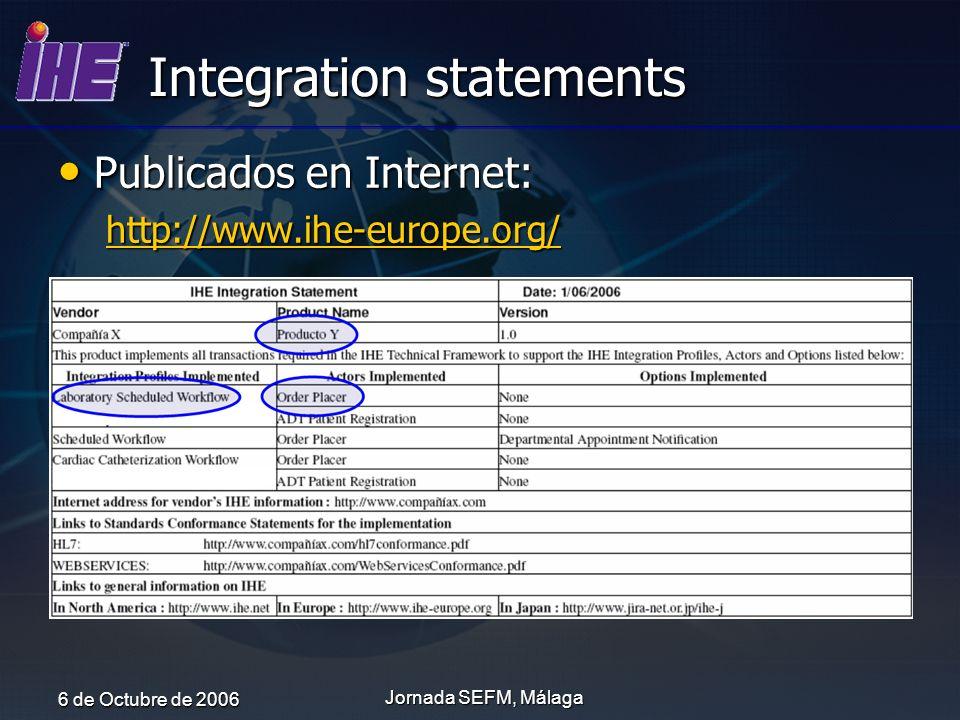 6 de Octubre de 2006 Jornada SEFM, Málaga Integration statements Publicados en Internet: Publicados en Internet: http://www.ihe-europe.org/