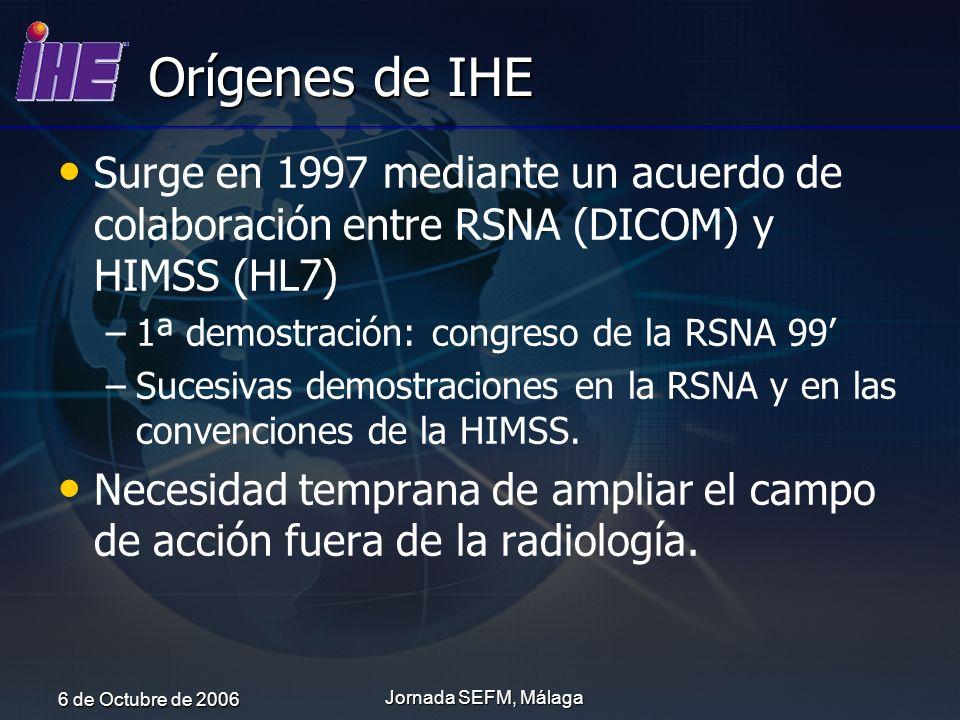 6 de Octubre de 2006 Jornada SEFM, Málaga Orígenes de IHE Surge en 1997 mediante un acuerdo de colaboración entre RSNA (DICOM) y HIMSS (HL7) – –1ª dem