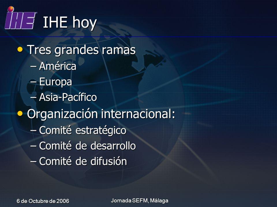 6 de Octubre de 2006 Jornada SEFM, Málaga IHE hoy Tres grandes ramas Tres grandes ramas –América –Europa –Asia-Pacífico Organización internacional: Or