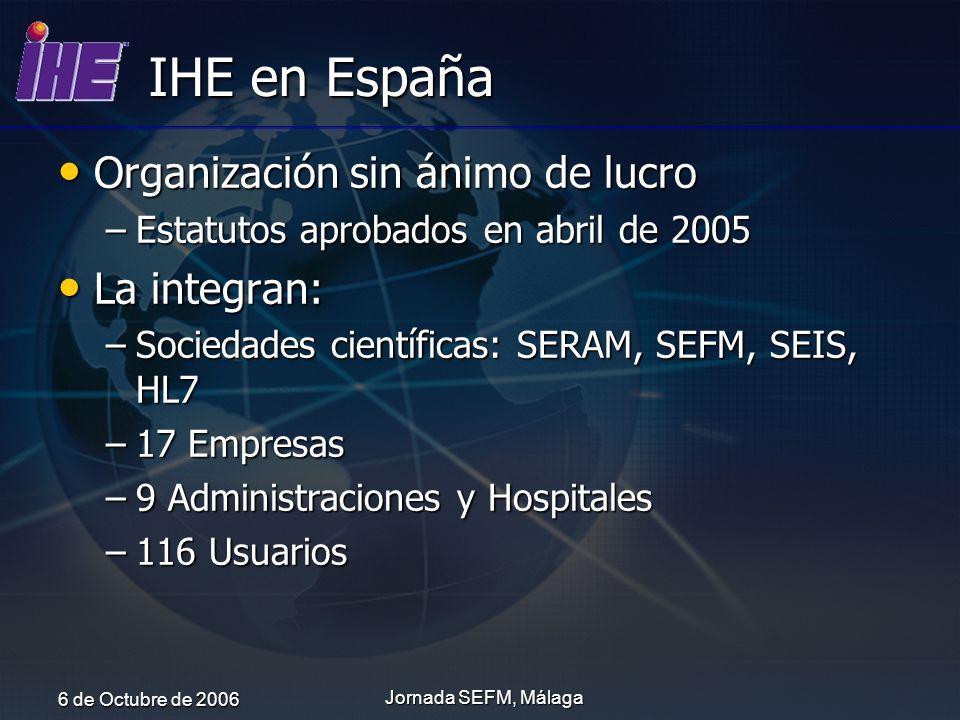 6 de Octubre de 2006 Jornada SEFM, Málaga IHE en España Organización sin ánimo de lucro Organización sin ánimo de lucro –Estatutos aprobados en abril