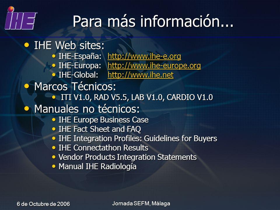 6 de Octubre de 2006 Jornada SEFM, Málaga IHE Web sites: IHE Web sites: IHE-España:http://www.ihe-e.org IHE-España:http://www.ihe-e.orghttp://www.ihe-
