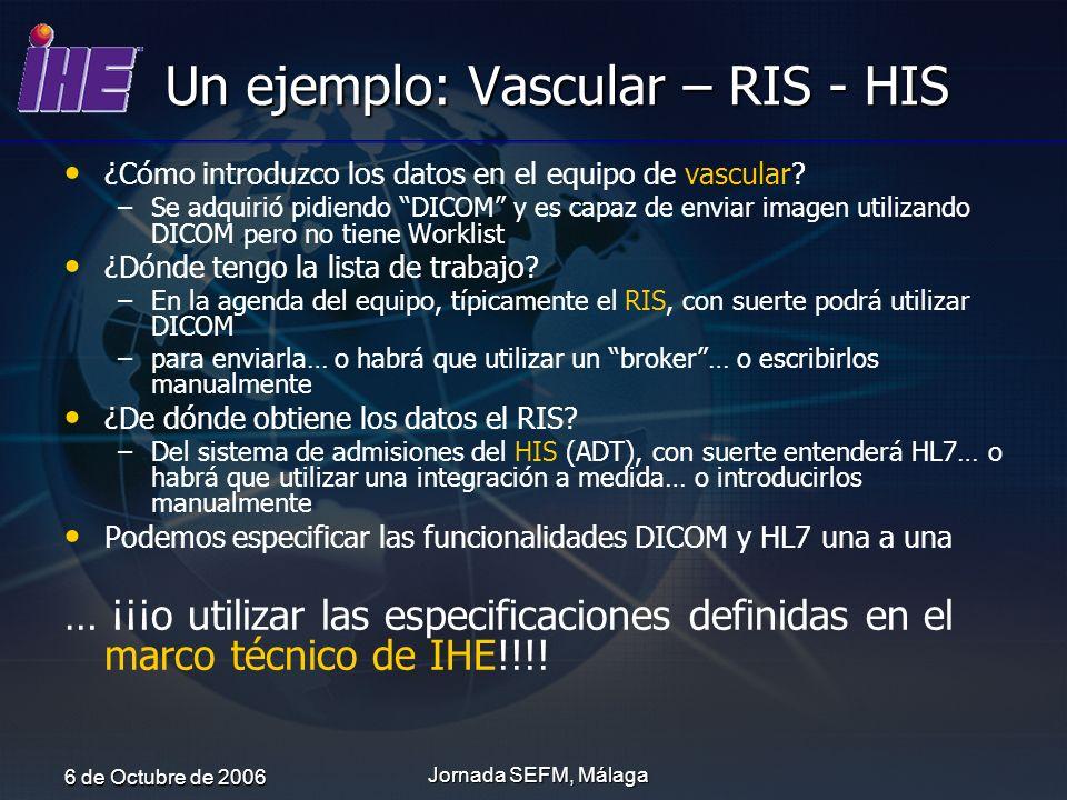 6 de Octubre de 2006 Jornada SEFM, Málaga Un ejemplo: Vascular – RIS - HIS ¿Cómo introduzco los datos en el equipo de vascular? – –Se adquirió pidiend