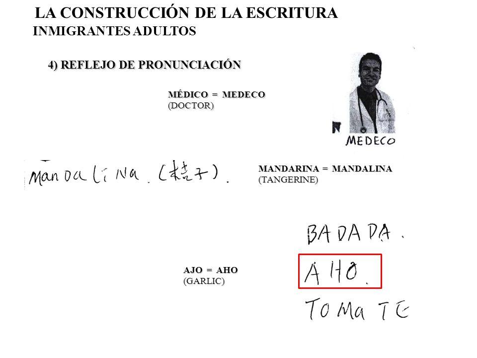 4) REFLEJO DE PRONUNCIACIÓN LA CONSTRUCCIÓN DE LA ESCRITURA INMIGRANTES ADULTOS MÉDICO = MEDECO (DOCTOR) MANDARINA = MANDALINA (TANGERINE) AJO = AHO (