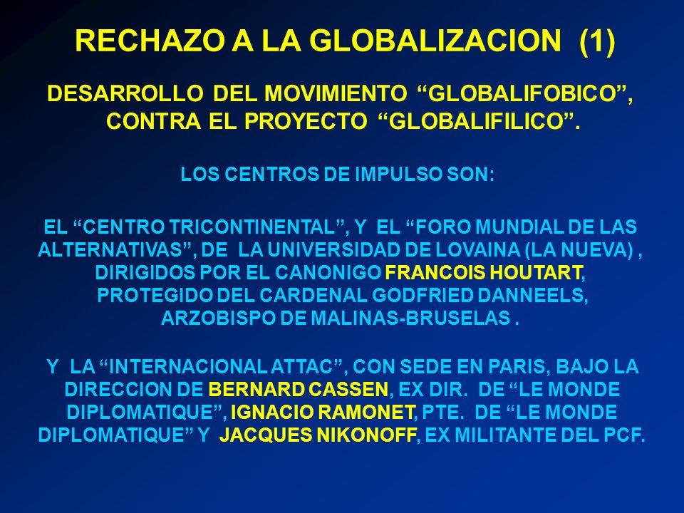 DESARROLLO DEL MOVIMIENTO GLOBALIFOBICO, CONTRA EL PROYECTO GLOBALIFILICO. EL CENTRO TRICONTINENTAL, Y EL FORO MUNDIAL DE LAS ALTERNATIVAS, DE LA UNIV