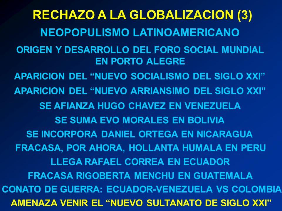 RECHAZO A LA GLOBALIZACION (3) NEOPOPULISMO LATINOAMERICANO ORIGEN Y DESARROLLO DEL FORO SOCIAL MUNDIAL EN PORTO ALEGRE APARICION DEL NUEVO SOCIALISMO