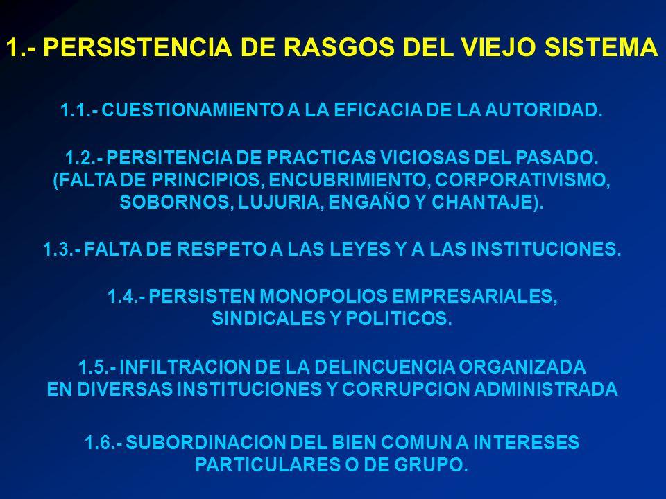 1.- PERSISTENCIA DE RASGOS DEL VIEJO SISTEMA 1.1.- CUESTIONAMIENTO A LA EFICACIA DE LA AUTORIDAD. 1.2.- PERSITENCIA DE PRACTICAS VICIOSAS DEL PASADO.