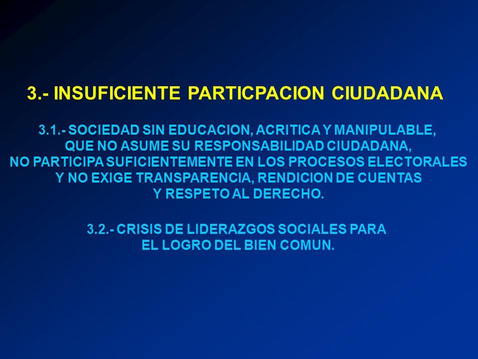3.- INSUFICIENTE PARTICPACION CIUDADANA 3.1.- SOCIEDAD SIN EDUCACION, ACRITICA Y MANIPULABLE, QUE NO ASUME SU RESPONSABILIDAD CIUDADANA, NO PARTICIPA