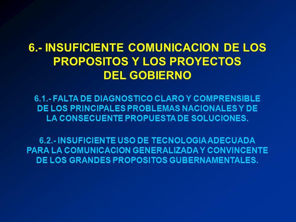 6.- INSUFICIENTE COMUNICACION DE LOS PROPOSITOS Y LOS PROYECTOS DEL GOBIERNO 6.1.- FALTA DE DIAGNOSTICO CLARO Y COMPRENSIBLE DE LOS PRINCIPALES PROBLE